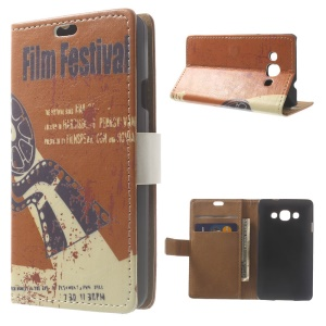 Film Festival Protective PU Leather Wallet Cover w/ Stand for LG L60 X145