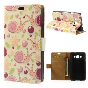 For LG L60 X145 Bubbles & Snails Wallet Stand Leather Protective Case - Pink Background