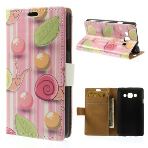 For LG L60 X145 Bubbles & Snails Folio Stand Leather Wallet Case - Rose Background