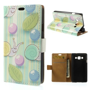 Bubbles & Snails Wallet Stand Leather Shell for LG L60 X145 - Cyan Background