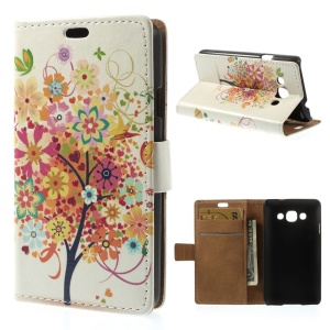 Colorful Flower Tree Protective Stand Leather Wallet Case for LG L60 X145
