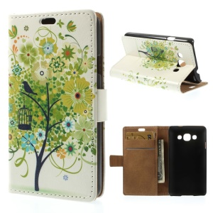 Green Flower Tree Wallet Stand PU Leather Skin Case for LG L60 X145