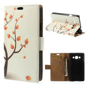 For LG L60 X145 Autumn Maple Tree Wallet PU Leather Shell with Stand