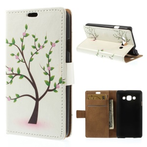 For LG L60 X145 Tree with Flowers Wallet PU Leather Stand Cover