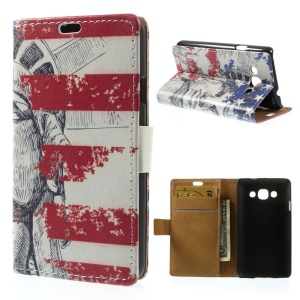 Statue of Liberty & US Flag Wallet Stand PU Leather Cover for LG L60 X145