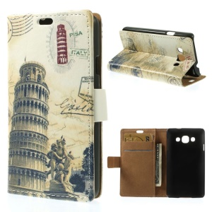 Leaning Tower of Pisa & Acient Map Stand PU Leather Wallet Case for LG L60 X145
