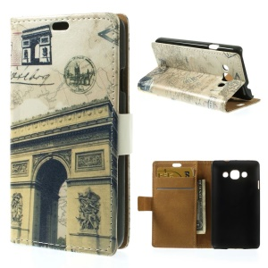 Triumphal Arch & Map Folio Stand PU Leather Wallet Shell for LG L60 X145