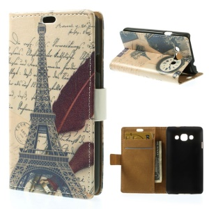 Eiffel Tower & Quill Pen Wallet Leather Protective Case w/ Stand for LG L60 X145