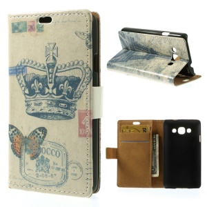 Crown & Eiffel Tower Wallet Leather Phone Case w/ Stand for LG L60 X145