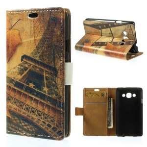Eiffel Tower & Maple Leaves Magnetic Leather Wallet Case w/ Stand for LG L60 X145