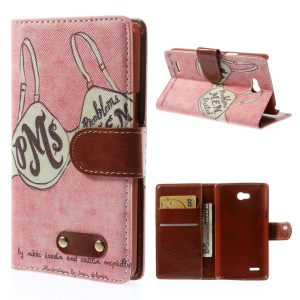 Sexy Bra Magnetic Wallet Leather Cover with Stand for LG L80 D370