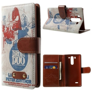 Suisse Drum Duo Pattern Wallet Leather Stand Case for LG G3 S D725 D722