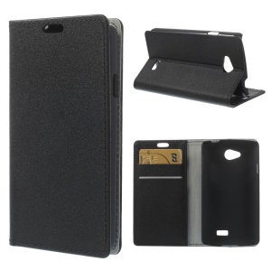Sand-like Texture Leather Stand Case w/ Card Slots for LG F60 D390N - Black