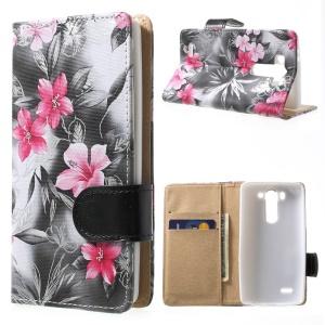 Elegant Flowers Wallet Leather Stand Case for LG G3 S D722 D725 - Black