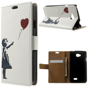 Folio Wallet Leather Stand Case for LG F60 D390N - Girl & Heart-shaped Balloon
