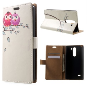 Two Owls on the Branch Leather Wallet Stand Case for LG G3 Stylus D690N D690