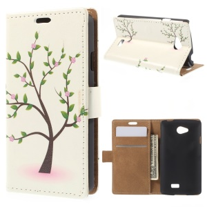 Tree with Flowers Wallet Leather Stand Cover for LG F60 D390N