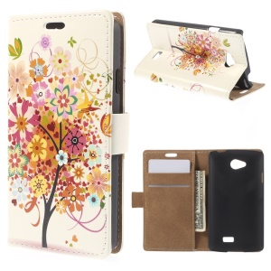 Colorful Flower Tree Stand Leather Magnetic Case for LG F60 D390N