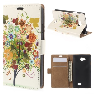 Colorized Fruit Tree Stand Leather Magnetic Cover for LG F60 D390N