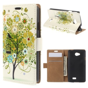 Green Flower Tree PU Leather Stand Case Cover for LG F60 D390N