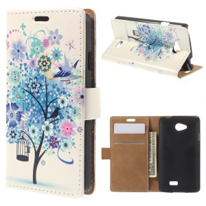 Blue Flower Tree Wallet Leather Stand Case Cover for LG F60 D390N