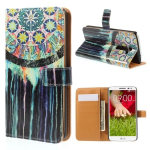 Watercolor Dream Catcher for LG G2 D800 D801 D802 Leather Wallet Stand Cover