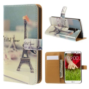 For LG G2 D800 D801 D802 Eiffel Tower & Mustache Leather Wallet Stand Case