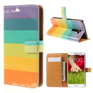 Rainbow Stripes for LG G2 D800 D801 D802 Leather Wallet Folio Protective Shell