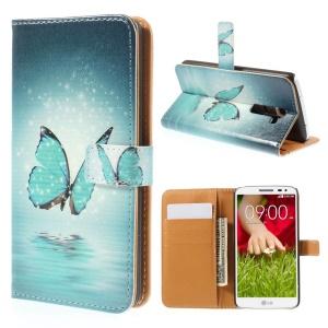 Dreamlike Butterfly for LG G2 D800 D801 D802 Leather Wallet Folio Protective Shell