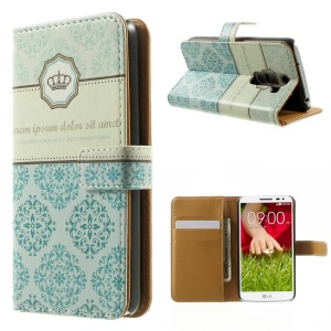 Blue Damask Pattern Stand Leather Wallet Cover for LG G2 Mini D610 D618 D620