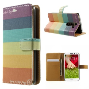 Colorized Stripes Magnetic Flip Leather Stand Case for LG G2 Mini D610 D618 D620