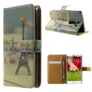 Cute Eiffel Tower & Mustache Folio Leather Stand Case for LG G2 Mini D610 D618 D620