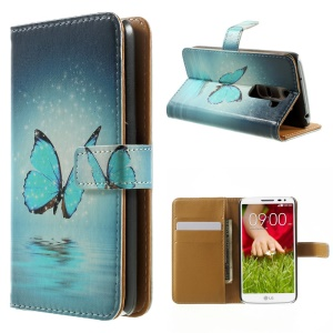 Vivid Blue Butterfly Folio Leather Wallet Cover for LG G2 Mini D610 D618 D620