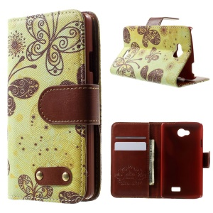 For LG F60 D390N PU Leather Wallet Case Stand - Beautiful Butterflies