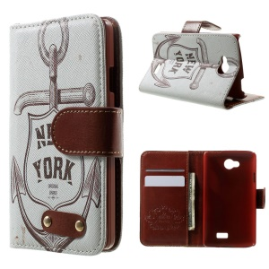 For LG F60 D390N Folio Leather Card Holder Case - New York Anchor