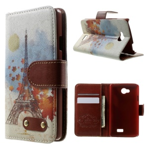For LG F60 D390N Folio Wallet Leather Case - Eiffel Tower & Maple Leaves