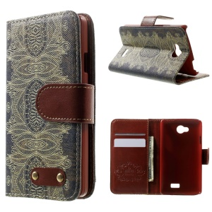 For LG F60 D390N Folio Flip Leather Stand Cover - India Style Flower Pattern