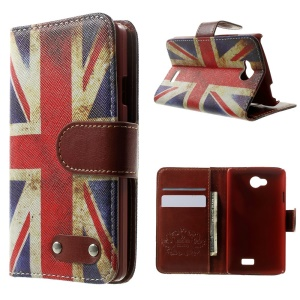 For LG F60 D390N Flip Leather Cover w/ Card Slots - Retro Union Jack Flag