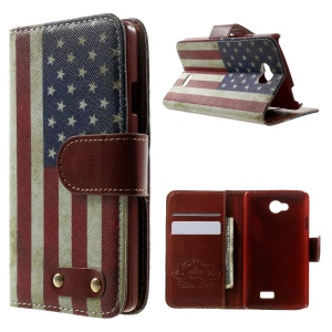 For LG F60 D390N Flip Leather Case w/ Card Slots - Retro US National Flag