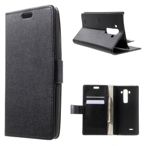 Lychee Leather Magnetic Wallet Cover for LG G Flex2 F510L - Black