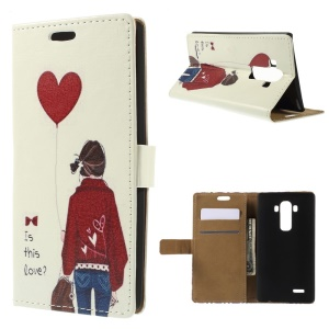For LG G4 Folio Leather Stand Wallet Cover - Maiden Hold Balloon