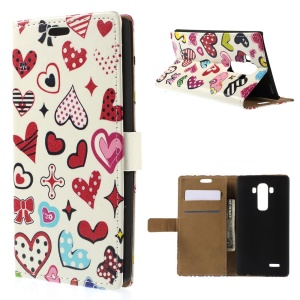 Folio Leather Stand Wallet Cover for LG G4 - Colorful Heart Symbols