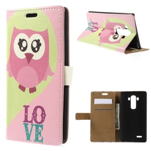 Diary Style Folio Leather Stand Wallet Case for LG G4 - Pink Owl