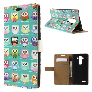 Diary Style Folio Leather Stand Case Card Holder for LG G4 - Blue Owl Gallery