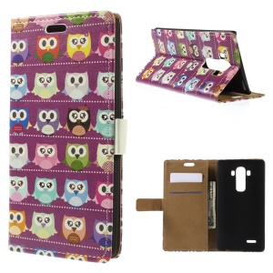 Diary Style Folio Leather Stand Wallet Case for LG G4 - Purple Owl Gallery