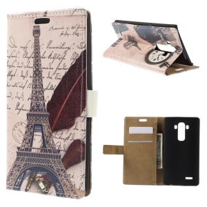 Eiffel Tower and Quill Pen Wallet Leather Stand Case for LG G4