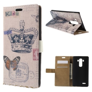 Crown and Eiffel Tower Wallet Leather Stand Case for LG G4