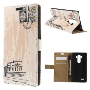Big Ben and Postmark Flip Wallet Leather Stand Cover for LG G4