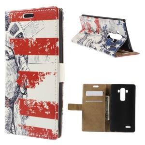 Statue of Liberty Flip Wallet Leather Stand Cover for LG G4