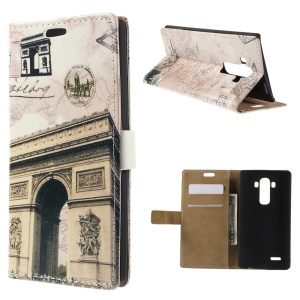Triumphal Arch and Map Folio Leather Card Holder Shell for LG G4